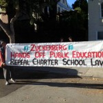 Voices Against Privatizing Public Education protesting billionaire school privatizer Mark Zuckerberg