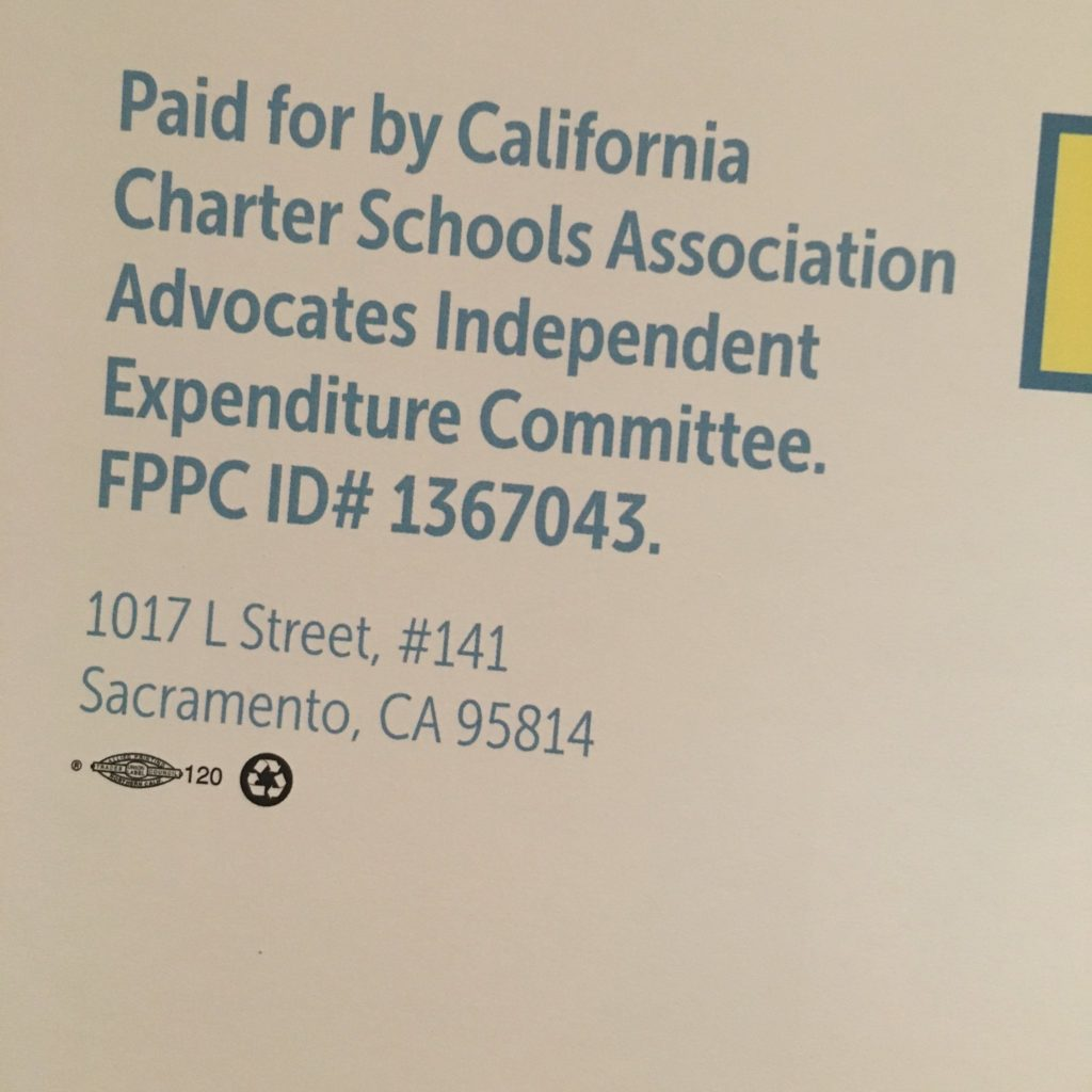 Carrillo campaign mailer paid for by the CCSA